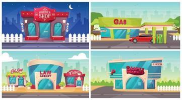 conjunto de ilustrações vetoriais de cores planas de frentes de loja. exterior da barbearia à noite. agência de advocacia na vizinhança. fachada de supermercado. posto de gasolina com carro em overdrive. paisagem urbana de desenho animado 2D moderna vetor