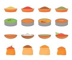 refeições indianas e especiarias conjunto de objetos de vetor de cor plana. comida tradicional em thali de metal, condimentos em tigelas de madeira e sacos têxteis 2d ilustrações isoladas de desenhos animados em fundo branco