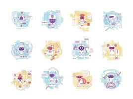 conjunto de ilustrações vetoriais de conceito de linha fina de bots bons e ruins. robôs de internet personagens de desenhos animados 2d para web design. assistentes de IA pessoais. informações que roubam ideias criativas de software vetor