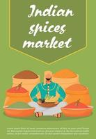 modelo de vetor plana de cartaz de mercado de especiarias indianas. folheto de loja de comércio de condimentos, projeto de conceito de uma página de livreto com personagem de desenho animado. condimentos orientais, folheto de aditivos para alimentos e bebidas, folheto