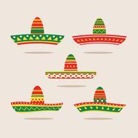 Conjunto de ilustração plana de Sombrero vetor