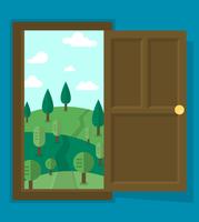 Paisagem de porta aberta vetor