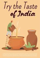 gosto de modelo de vetor plana de cartaz da Índia. brochura de bebidas indianas tradicionais, projeto de conceito de uma página de livreto com personagem de desenho animado. bebidas picantes, panfleto de chaiwala e chaach, folheto