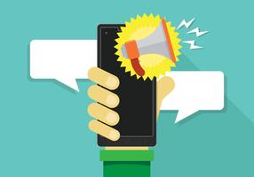 Megafone ou alto-falante para alerta de notificação móvel vetor