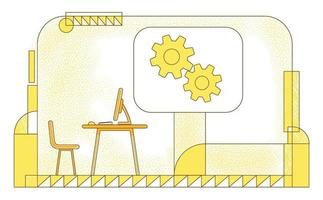 ilustração em vetor silhueta plana escritório de diretores. gerente executivo, composição do contorno do local de trabalho do ceo da empresa em fundo amarelo. espaço de trabalho vazio e desenho de estilo simples de engrenagens