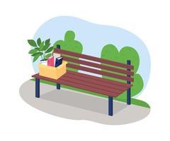 caixa de empregado demitido em banco de parque 2d vector web banner, pôster