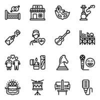 conjunto de ícones de atividades divertidas vetor