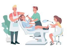 caracteres de vetor de cor lisa de tratamento cosmético. cabeleireiro masculino fazendo corte de cabelo. esteticista aplicando maquiagem. mulher fazendo pedicure. ilustração de desenhos animados de procedimento de salão de beleza isolado