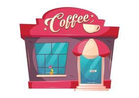 ilustração em vetor coffeeshop dos desenhos animados. café edifício objeto de cor plana da frente. exterior do quiosque do restaurante. bistrô com copa acima da porta. padaria com janela. entrada da cafeteria isolada no fundo branco