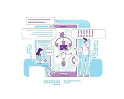 ilustração em vetor conceito linha fina app chatbot. aplicativo de comunicação online. pessoas conversando com personagens de desenhos animados 2d de bot para web design. redes sociais apoiam a ideia criativa de serviço