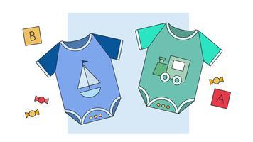Vetor de roupas de bebê menino