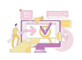 motor de busca marketing ilustração em vetor conceito linha fina. cliente potencial personagem de desenho animado 2d para web design. métodos de sem modernos, geração de tráfego de internet, ideia criativa de promoção online