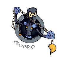 Ilustração em vetor plana dos desenhos animados do signo do zodíaco Escorpião características astrológicas do símbolo da água. Pronto para usar caracteres 2d para design de impressão comercial. ícone de conceito isolado