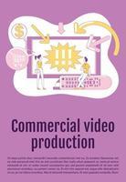 modelo de vetor de silhueta plana de cartaz de produção de vídeo comercial. folheto publicitário tv, projeto de conceito de uma página de livreto com personagens de desenhos animados. folheto de marketing de conteúdo, folheto com espaço de texto