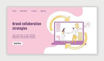 modelo de vetor de silhueta plana de página de destino estratégias de colaboração de marca. layout da página inicial de marketing de afiliados. interface de site de uma página com personagem de desenho animado. banner da web, página da web