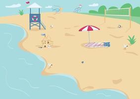 ilustração em vetor areia praia plana cor. manta com guarda-sol, torre de salva-vidas e rede de vôlei. férias de verão, recreação. paisagem litorânea 2D dos desenhos animados com água no fundo