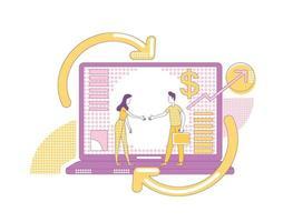 ilustração em vetor conceito linha fina marketing de afiliados. parceiros de negócios personagens de desenhos animados 2D para web design. estratégia de promoção na internet, programa de parceria para influenciadores, ideia criativa