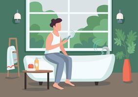 cara na ilustração vetorial de cor plana de banheiro inteligente. jovem com personagem de desenho animado de smartphone 2d com banheira automatizada no fundo. controle remoto do fluxo de água. tecnologia inovadora na vida vetor