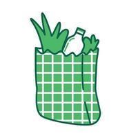 sacola de compras, objeto linear verde de pacote de produtos. pacote de papel com alimentos, símbolo de linha fina de embalagens de mercado. item de supermercado, ilustração de contorno isolado de sacola de supermercado no fundo branco vetor