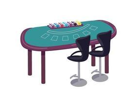 ilustração em vetor cassino dos desenhos animados. mesa verde para jogar o objeto de cor lisa de blackjack. mesa para jogar cartas e fazer apostas. contador para competição de jogos de azar isolado no fundo branco