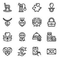 conjunto de ícones de cuidados maternos vetor