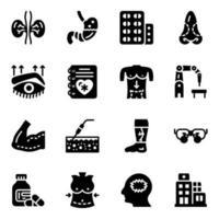 conjunto de ícones de hospital e cirurgia vetor