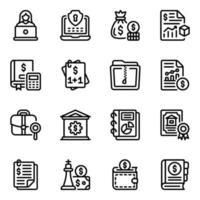 estratégia financeira e conjunto de ícones de acordo vetor