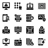 Conjunto de ícones de cibersegurança e cibercrime vetor