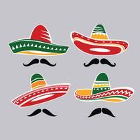 Coleção de chapéu tradicional Sombrero mexicano com Mustacle vetor