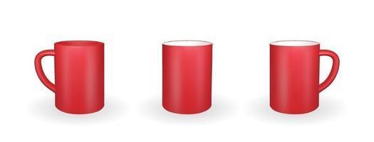 conjunto de caneca vermelha realista sobre um fundo branco. Renderização 3D. ilustração vetorial vetor