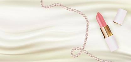 Batom realista 3D em seda branca com modelo de design pérola de produtos de cosméticos de moda para anúncios, panfleto, banner ou fundo de revista. ilustração vetorial vetor