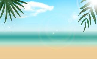 fundo natural do mar de verão de palma. copiar ilustração vetorial de espaço vetor