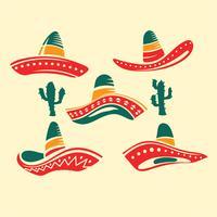 Chapéu de Sombrero de abas largas mexicano tradicional de ilustração plana vetor