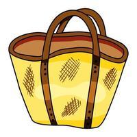 sacola, sacola de praia de verão, sacola de compras isolada em um fundo branco. ilustração vetorial desenhada à mão estilo doodle vetor