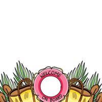 modelo de banner de fronteira de férias de verão com espaço de cópia. acessórios de praia tropical de férias e folhas de palmeira com bolsa de praia, sandálias, bóia salva-vidas em fundo transparente vetor