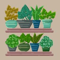 Coleção de plantas em vaso de vetor