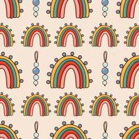 boêmio, moderno boho chique padrão sem emenda com arco-íris abstratos desenhados à mão em estilo escandinavo vetor