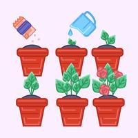 Crescimento de plantas em vaso de vetor