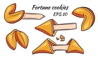 um conjunto de biscoitos da sorte coloridos. coleção de ilustrações em estilo cartoon. biscoitos de boa sorte. vetor