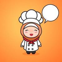 garota chef muçulmana kawaii fofa vetor