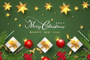 Feliz Natal e feliz ano novo design de plano de fundo com banner de elementos adoráveis. vetor