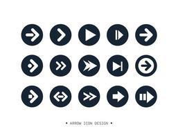 design de coleção de ícone de seta. vetor