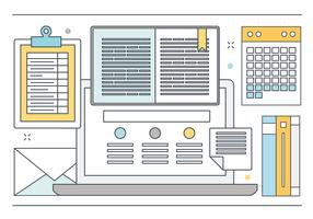 Vector Design plano linha arte elementos e acessórios
