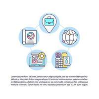 ícones de linha de conceito de dados firmográficos com texto vetor