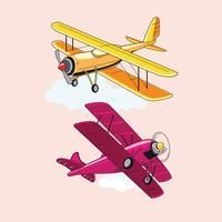 Conjunto de atrações de biplano ou aeronaves vetor