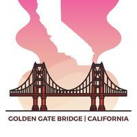 Mapa de Landmark Flat Estados Unidos Golden Gate Bridge com ilustração em vetor fundo gradiente