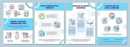 modelo de folheto de dicas de marketing de conteúdo inteligente vetor
