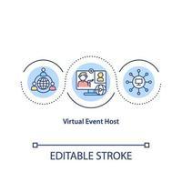 ícone de conceito de host de evento virtual vetor