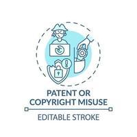 ícone do conceito de uso indevido de patentes e direitos autorais vetor