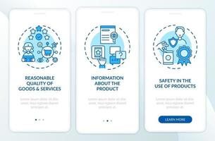 direitos do consumidor na tela da página do aplicativo móvel com conceitos vetor